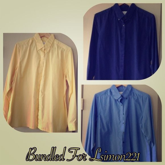 Three Women's Collard Shirts Yellow, Light Blue and Navy. Van Heusen Tops