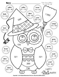 Math Coloring Sheets On Classroom Freebies Halloween Owl Math Coloring Sheet