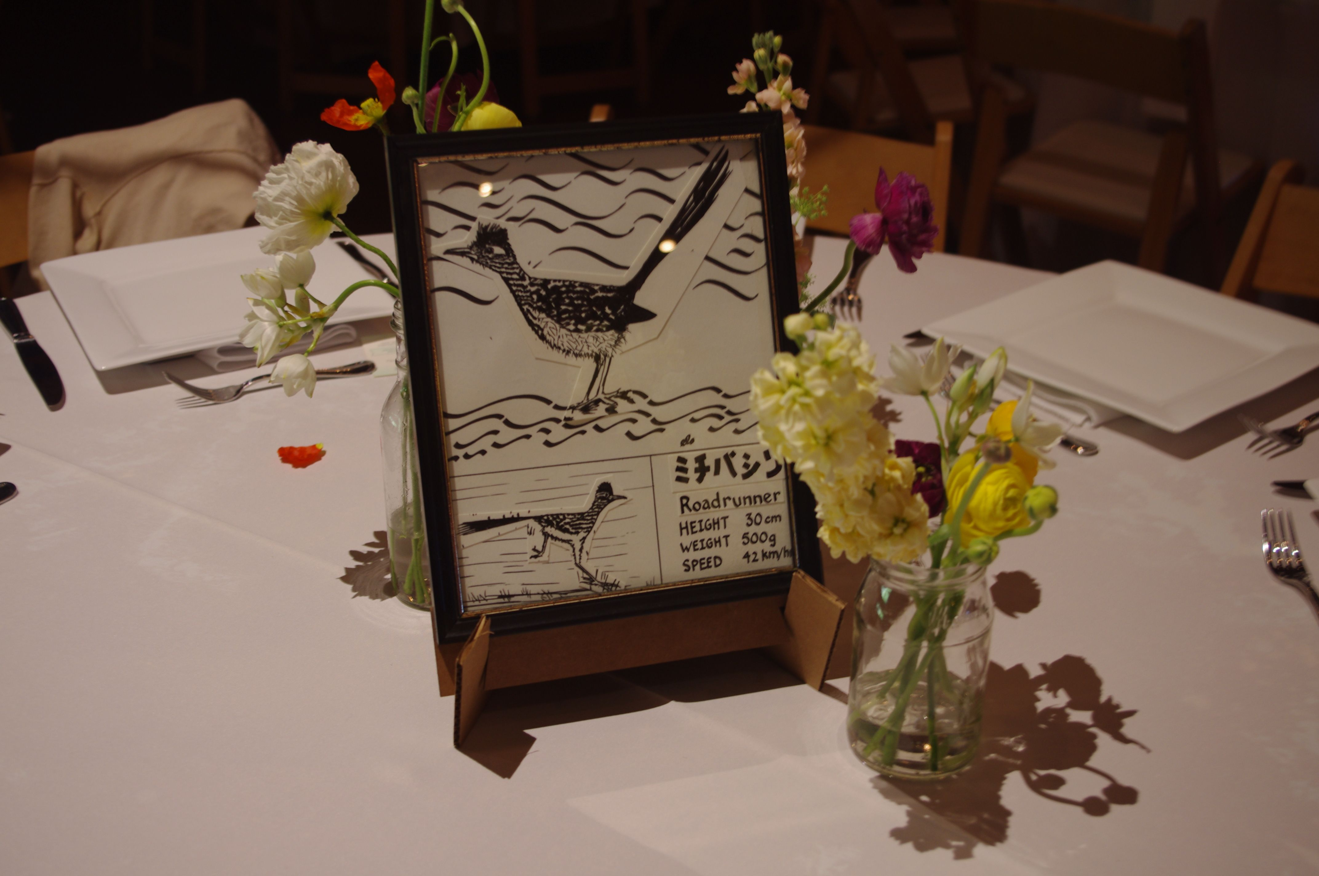 Jen and Eric's table labels- roadrunner