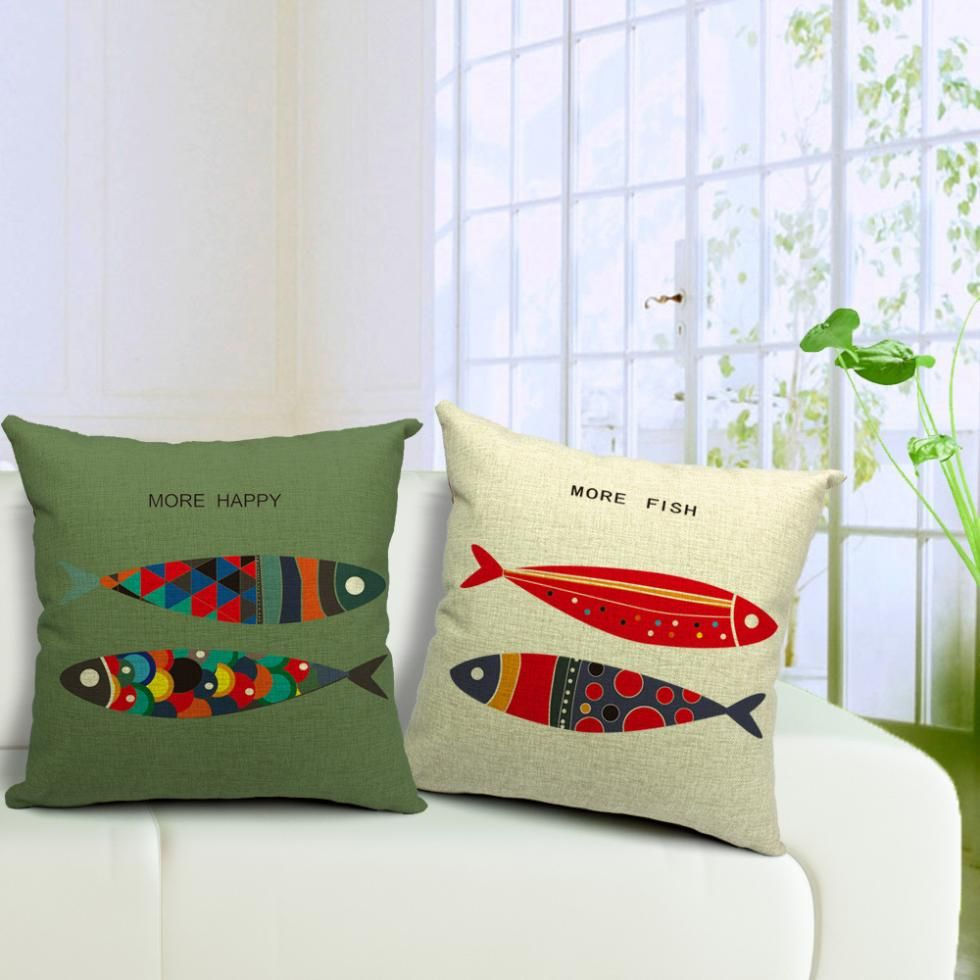 Linen cotton fish pattern cushion pillow decorative sofa pillow