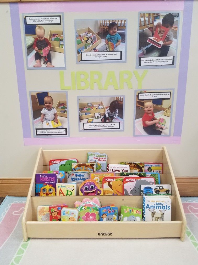 Library Wall Infant Classroom Infantsclassroom Infant Toddler Classroom Infant Classroom Toddler Room Organization