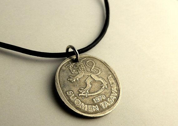 Finnish coin necklace Finnish necklace Boho by CoinStories on Etsy