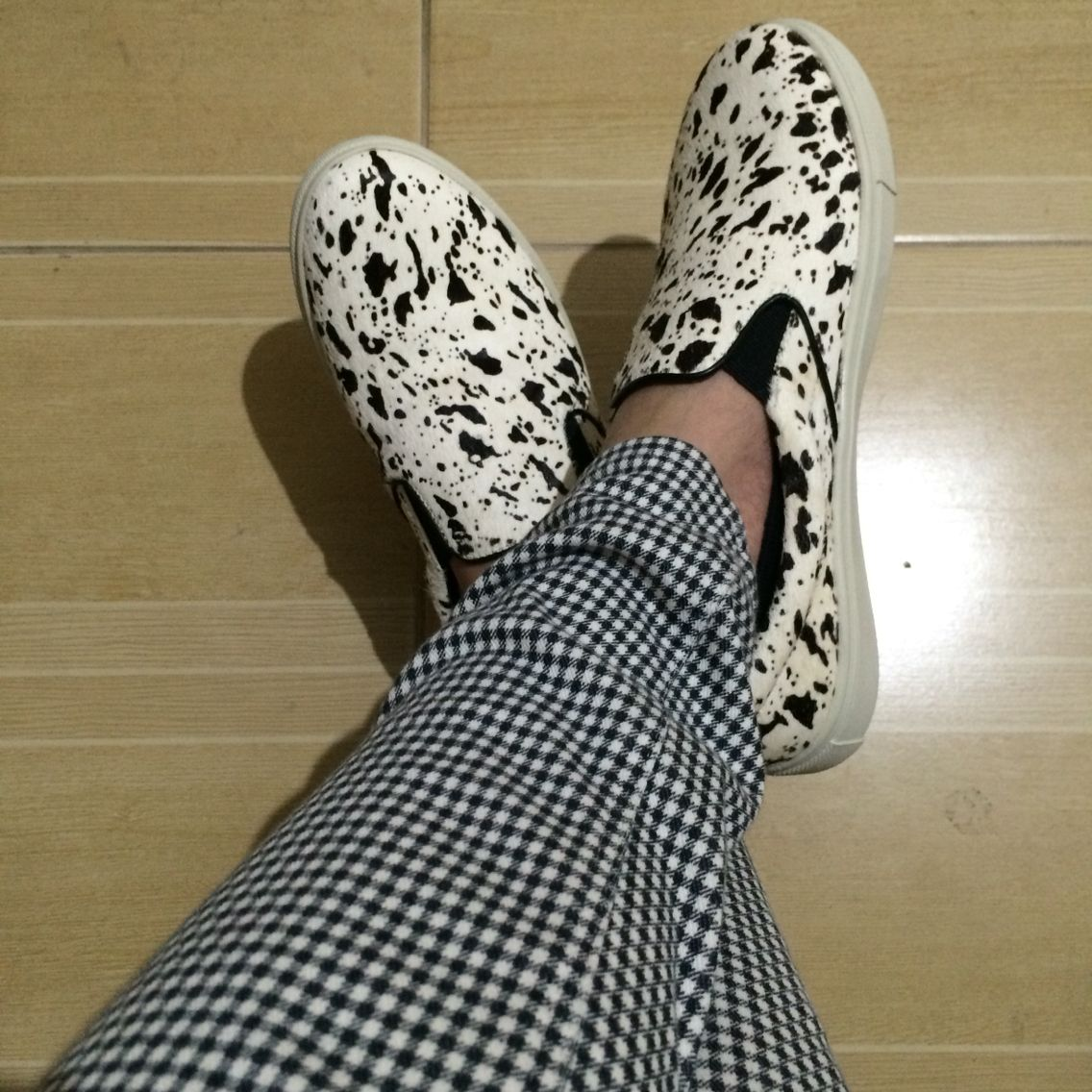 Steve Madden Ecentric and Uniqlo checkered jeggings both in Black and White.
