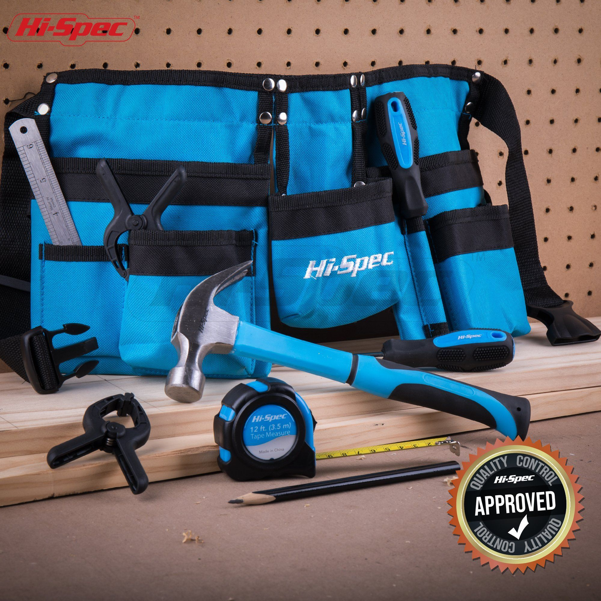 Hispec 12 piece young builders tool set and tool belt with