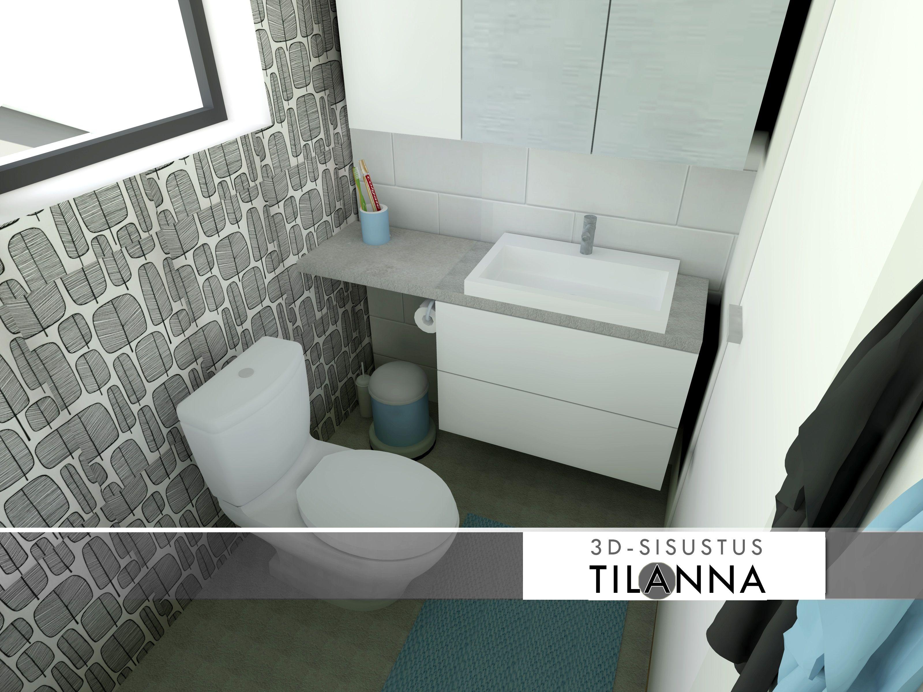 D Sisustussuunnittelu  Lasten Wc Seinällä Mustavalkoinen - White toilet with black seat