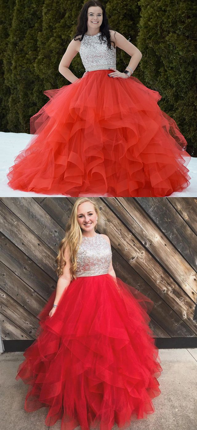 Sparkly sequins red long prom dress with open back from