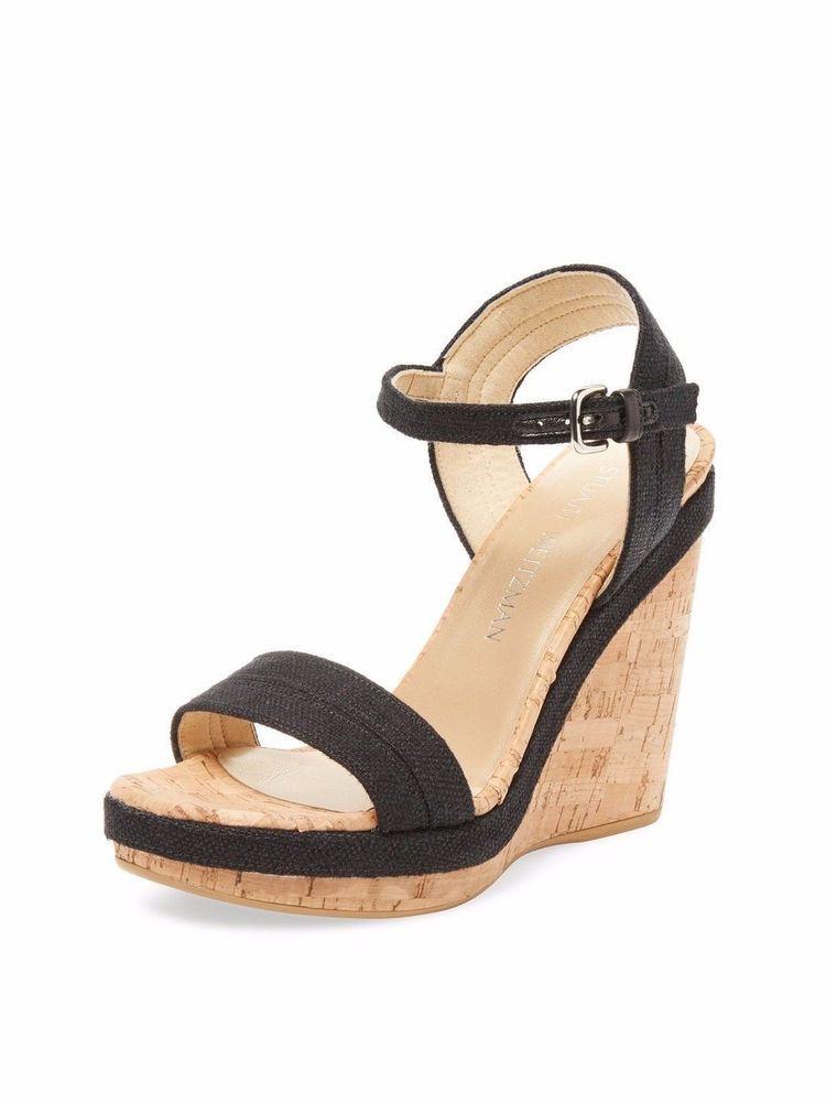 dcded45b538 STUART WEITZMAN Jezebel Cork Wedge Sandal With Black Linen Straps US Size 8   fashion