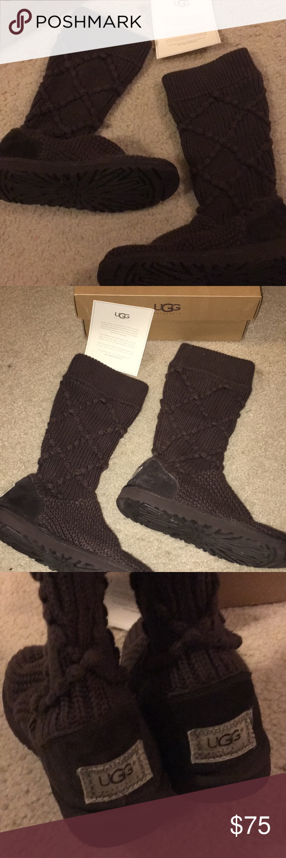 eb902ad4a37 UGG brown argyle knit boots! Ugg brown argyle knit boots in great ...