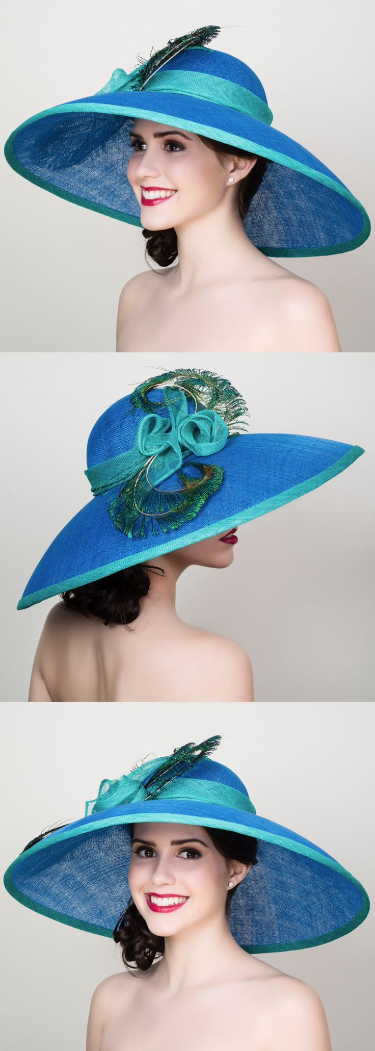 Blue and Jade Green Peacock Feather Large Big Brim Hat. Mother of ...
