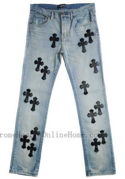 beed81bb46aa Authentic  ChromeHearts Jeans White Black Leather Cross Fashion Sale Store  Sale Online