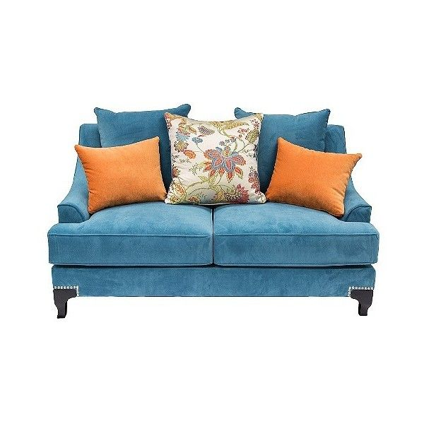 Zoren Retro Upholstered Loveseat Peacock Blue (¥130,005) ❤ liked on Polyvore featuring home, furniture, sofas, azure blue, furniture of america, nailhead loveseat, nail head sofa, blue loveseat and upholstery couch