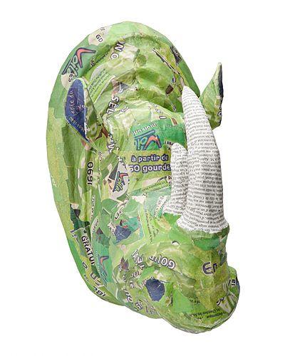 GREEN RHINO TROPHY HEAD | green rhino trophy head, paper machete, newspaper, handmade, Haiti, Fair Trade Artisans | UncommonGoods