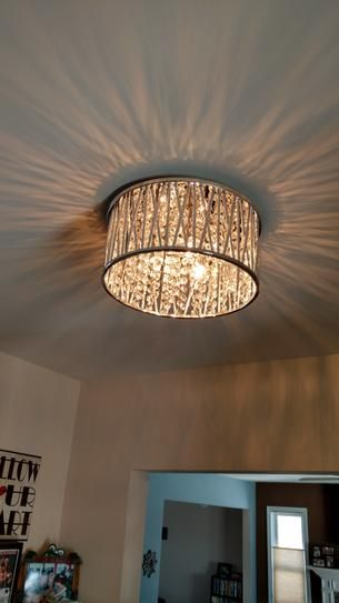 Home Decorators Collection Saynsberry 11 5 In 3 Light Polished Chrome And Crystal Drum Shape Flush Mount 4411 Ndm The Home Depot Ceiling Lights Living Room Bedroom Light Fixtures Bedroom Ceiling Light