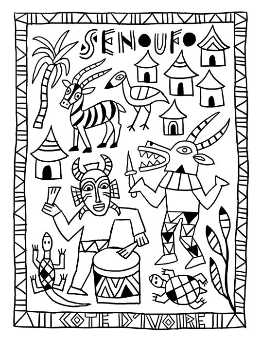 4 senoufo tour du monde pinterest afrique coloriage - Motifs africains maternelle ...