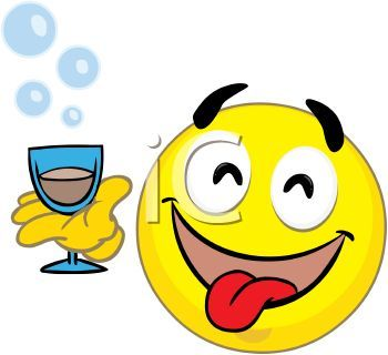 Silly Face Clip Art | ... Free Clipart Image: Happy Smiley Face Holding a Cocktail at a Party