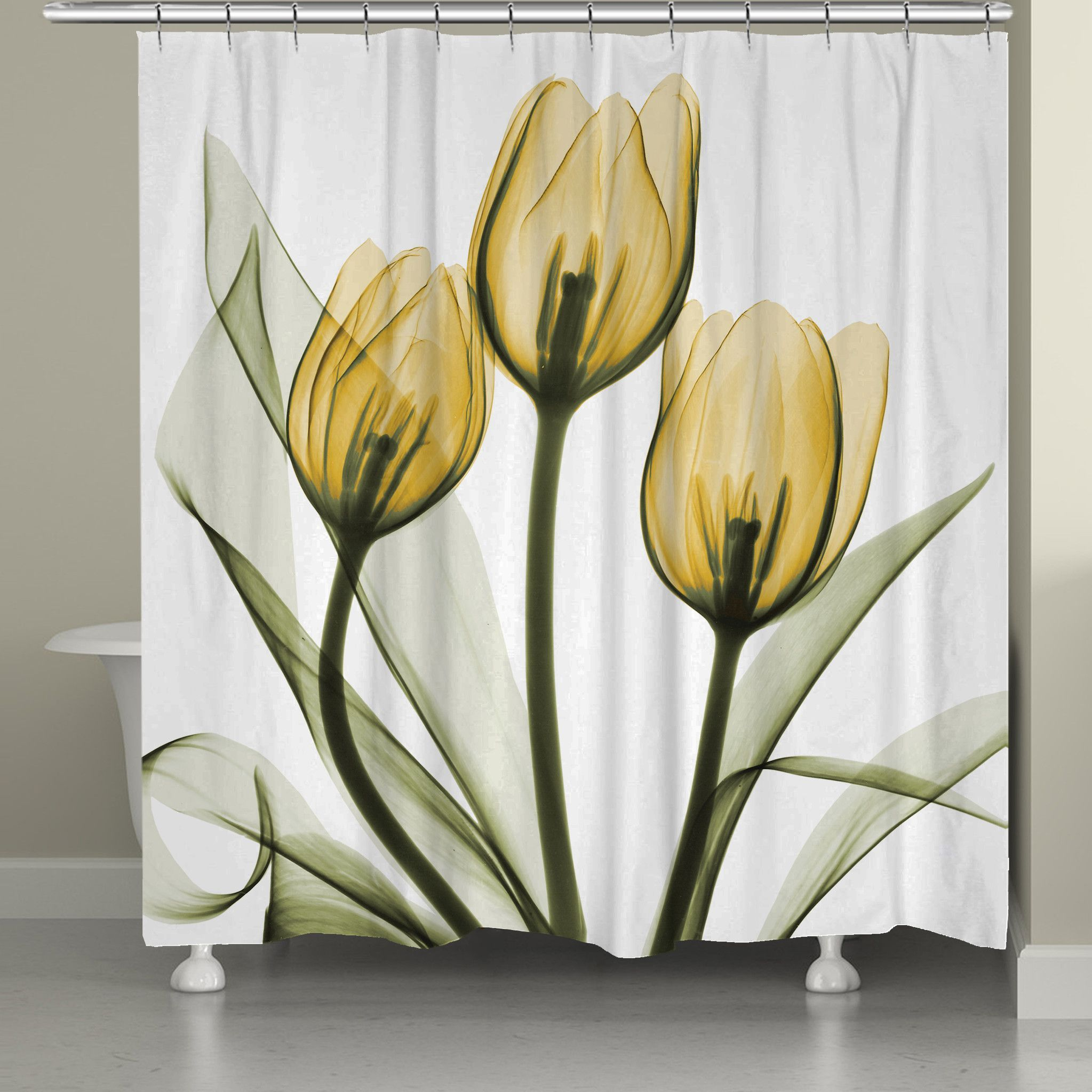 Golden X Ray Tulips Shower Curtain Floral Shower Curtains