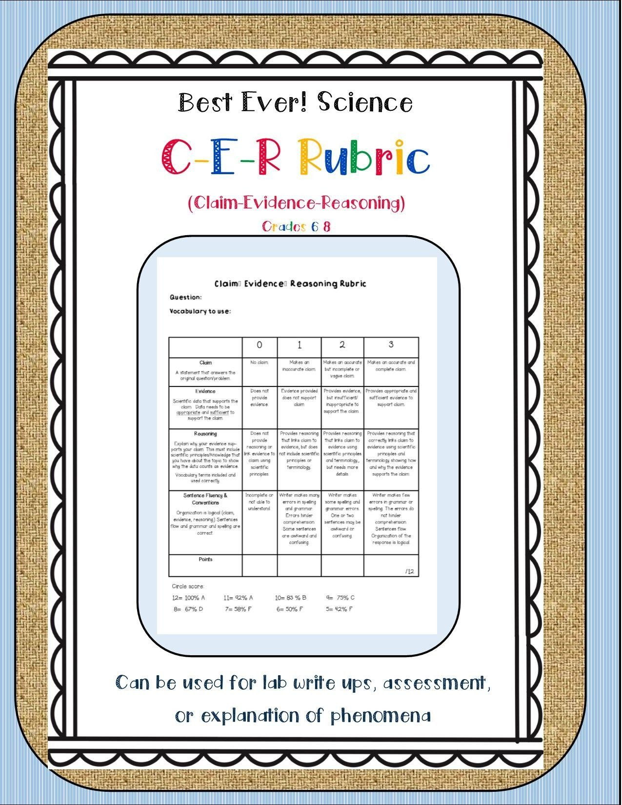 Claim Evidence Reasoning Science Worksheet Best Science