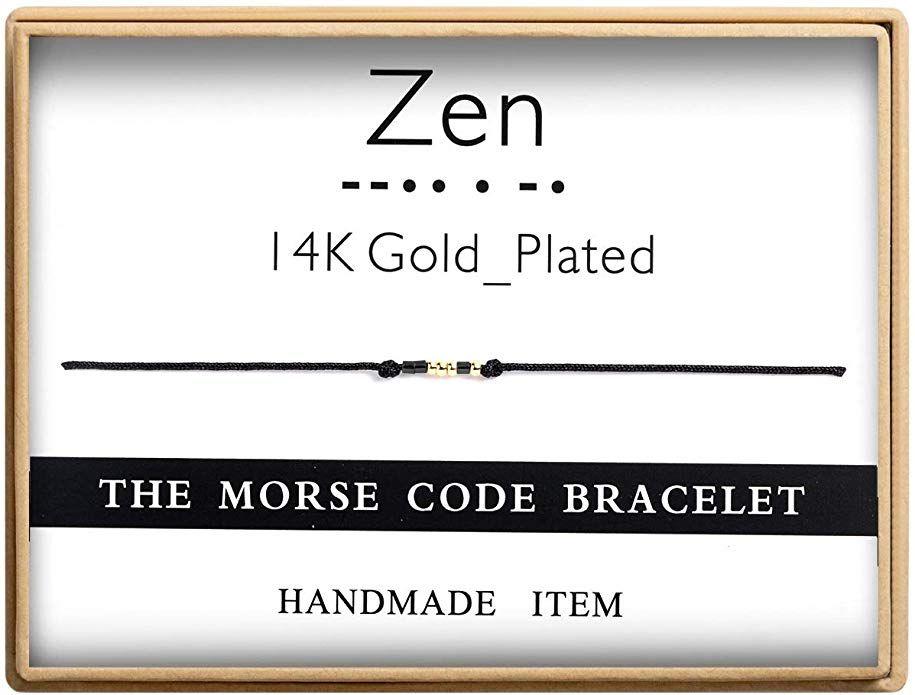 Ldurian Be The Change Morse Code Bracelet Secret Message Cuff Bracelet Engagement Gift with Gift Box