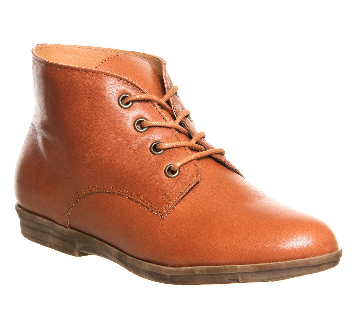 Office Fable Lace Up Tan Leather Ankle Boots