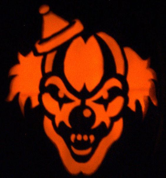 Evil clown stencils scary clown holiday 39 s fright night for Evil face pumpkin template