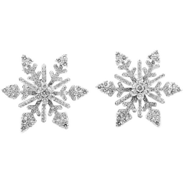 Van Cleef Arpels Diamond White Gold Snowflake Clip On Earrings Found Polyvore