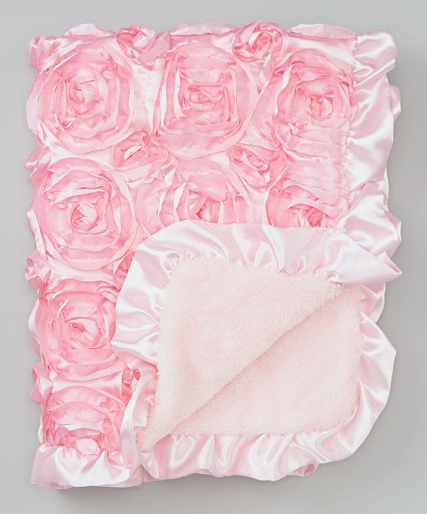 Take a look at this Pink Rosette Satin Stroller Blanket on zulily today!