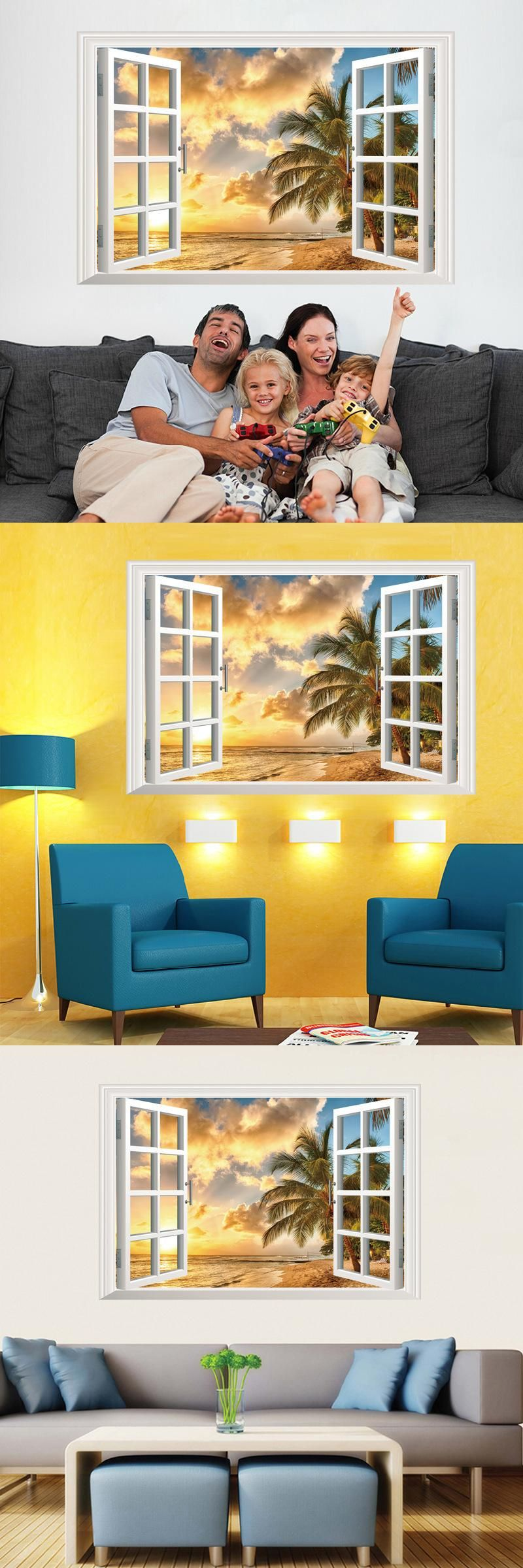 New Arrival 3D Window Scenery Beautiful Sea Beach View Wall Sticker ...