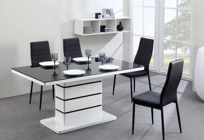table s a manger moderne design laquee blanc et noir MEUBLES