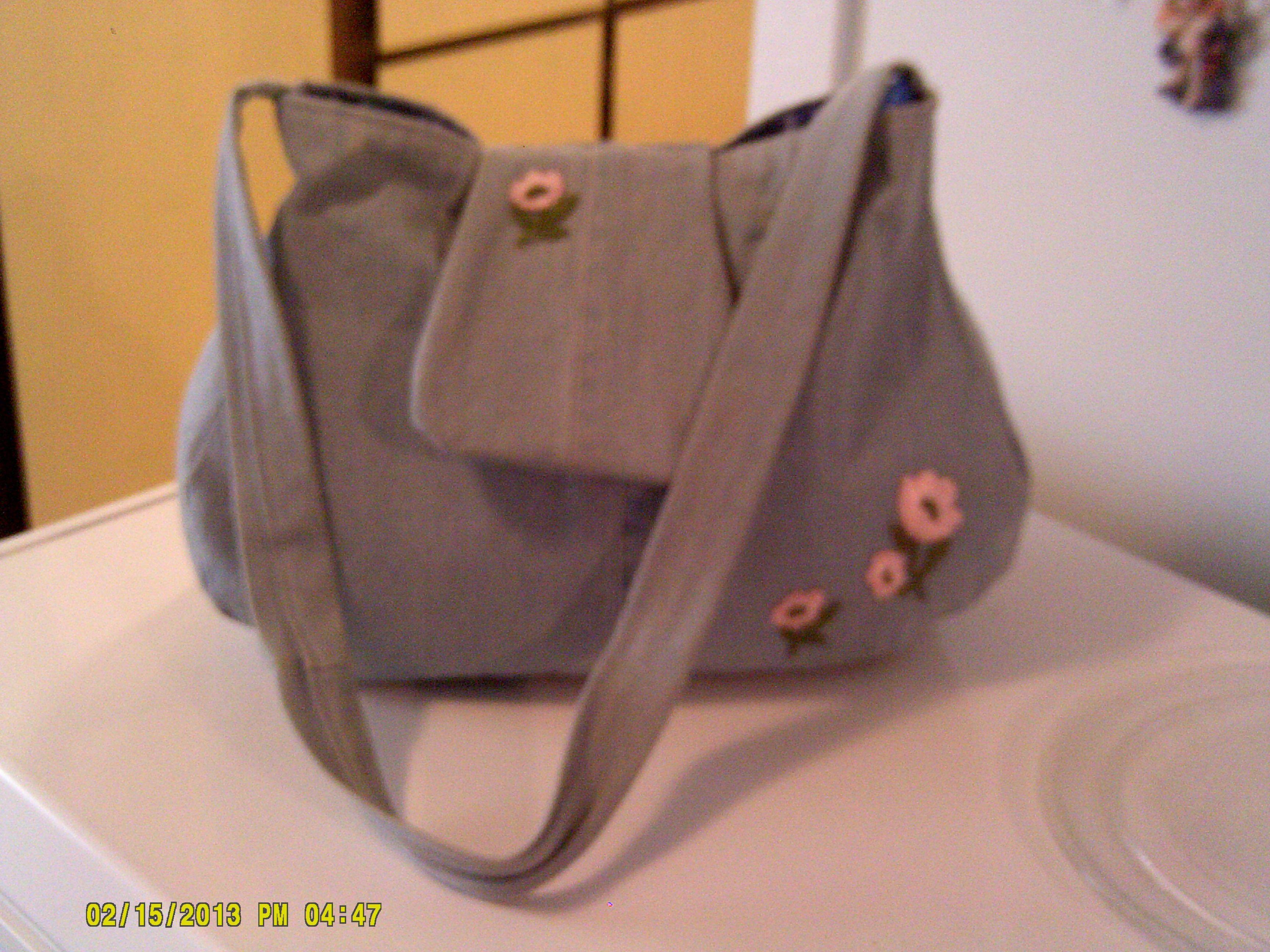 Denim handbag I made. Very roomy.