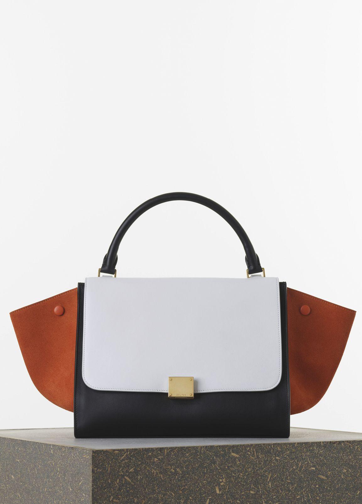 39eb25c813 Celine Tricolor Bags from Cruise 2015. Celine Burnt Orange White Black Smooth  Calfskin Trapeze Medium Bag