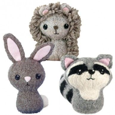 CraftyAlien® - Backyard Critters 3 Felted Knit Amigurumi Pattern: Cottontail Bunny Rabbit, Hedgehog, Raccoon. $6.00