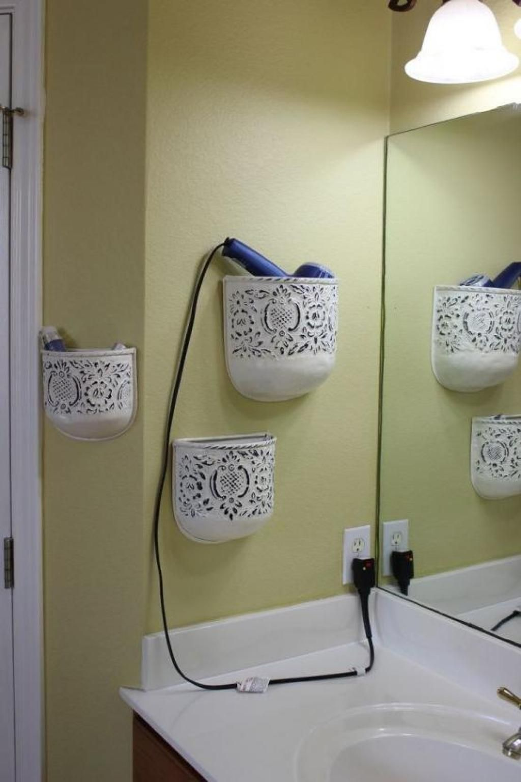 Practical Bathroom Storage Ideas Hair Dryer Storage And Bathroom Tools With  White Hanging Lighting Genius And