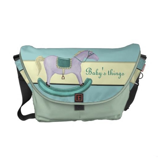 """Rocking Horse - Traditional Toys (pastel) Rickshaw Medium Zero Messenger Bag. Available in delicate pastel shades, or vibrant primary colours all images have a transparent background allowing you to """"Customise it"""" to change/add/remove text & background colour to your suit."""