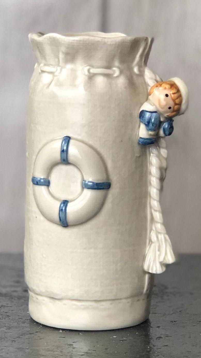 Excited to share this item from my #etsy shop: 1977 Enesco China Sailor Boy Nautical Vase #enescochina #nauticaldecor #sailordecor #beachthemedecor #vintage #enesco #meganscorner #etsyseller #shopsmall