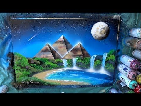 Oasis In The Desert Night Spray Paint Art By Skech Youtube Spray Paint Art Art Painting Cool Artwork
