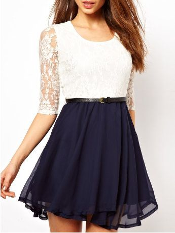 Fabulous Leuk jurkje met witte kanten bovenkant, en donkerblauwe chiffon #MQ55