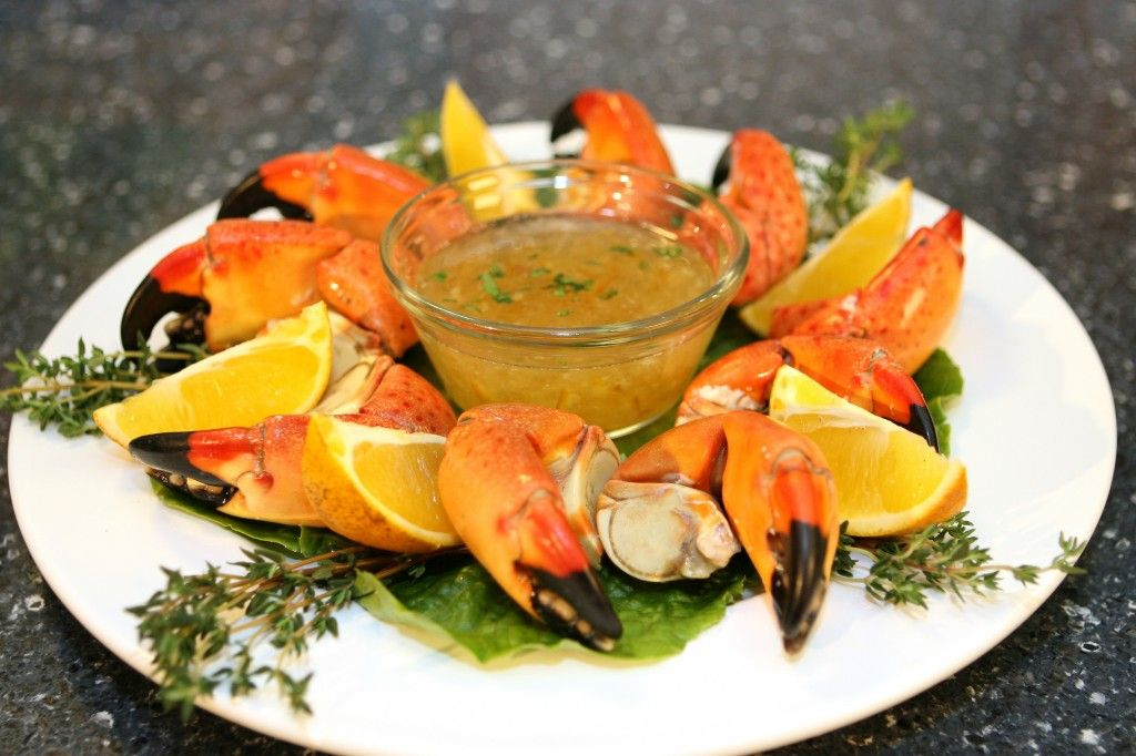 Florida stone crab claws with orange horseradish sauce