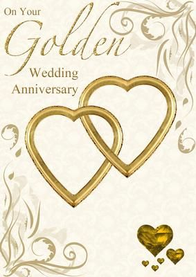 Golden Wedding Anniversary Hearts Entwined Card Golden Wedding Anniversary Golden Wedding Anniversary