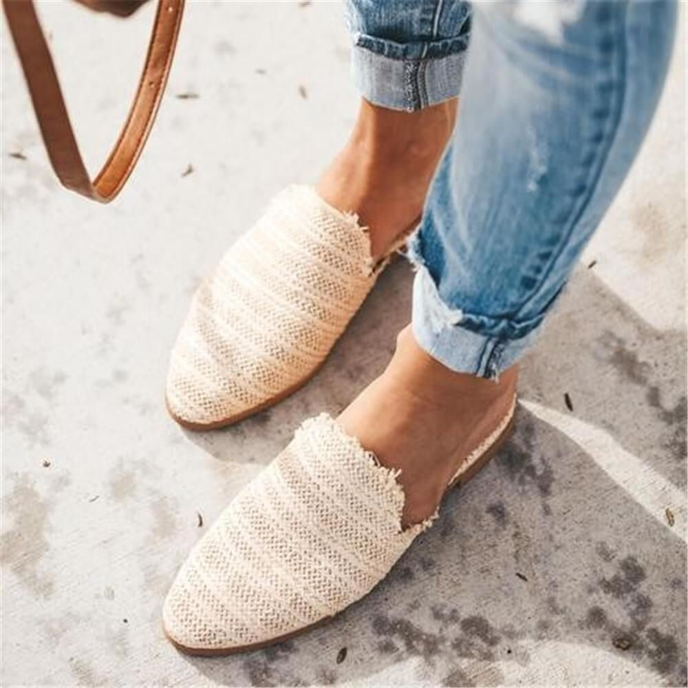 Fashion Simple Woven Pointed Flat Shoes 5