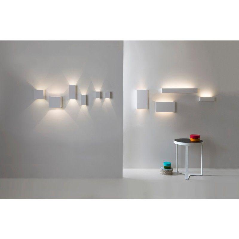 Quaderförmige LED-Wandleuchte aus Gips \/ LED-Wandfluter PARMA 100 - wohnideen led