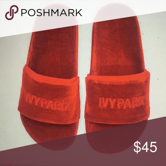 67d5a7658d1 Red velvet ivy park slide  sandals Ivy Park chili red velvet sandals (no  longer available in stores) Velvet textile upper with man-made sole Slip on  ...