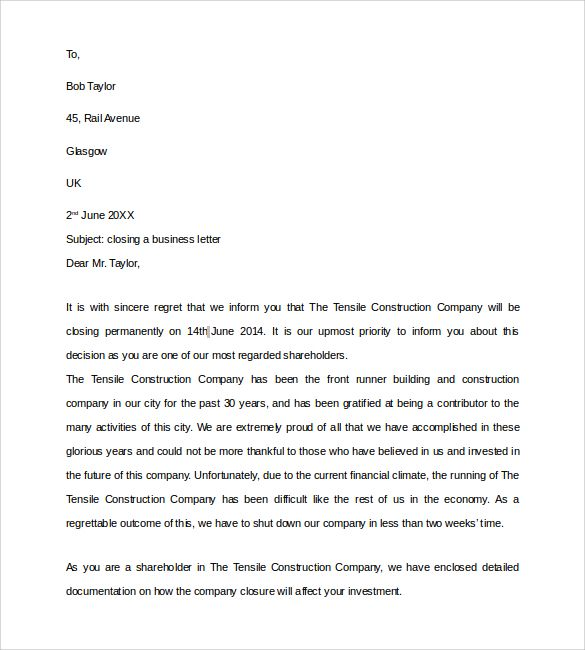 Sample Closing Business Letter Documents Pdf Word Personal Format