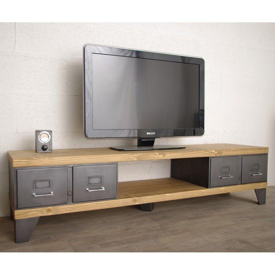 Nous Vous Proposons Ce Meuble Tv Style Industriel Con U Avec D  # Meuble Tv Anthracite