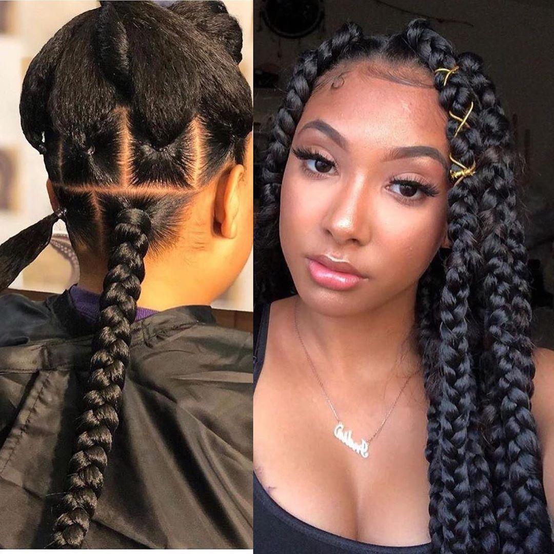 65 Cute Braided Hairstyles Black Hair Ombre Braiding Hair In 2020 Box Braids Hairstyles Natural Hair Styles Braided Hairstyles