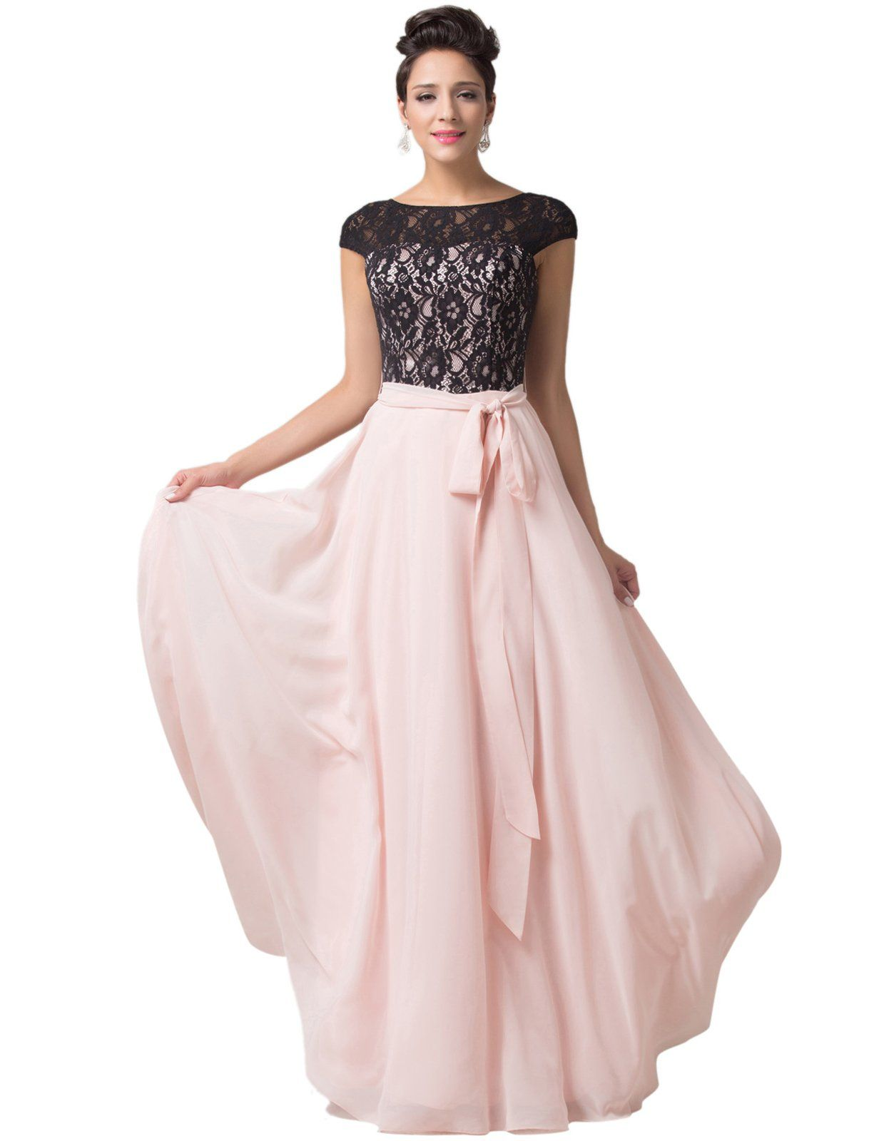 Grace Karin Womens Womens Backless Lace Chiffon Ball Gown