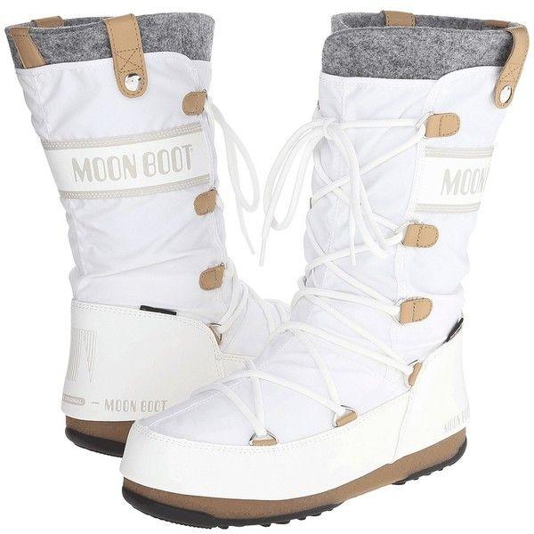 4ee35ed358d85 Tecnica Moon Boot Monaco Felt (White) Women's Cold Weather Boots ...