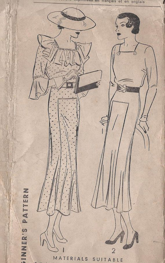 Vintage 1931 Misses Dress Pattern Square by CottageLaneTreasures