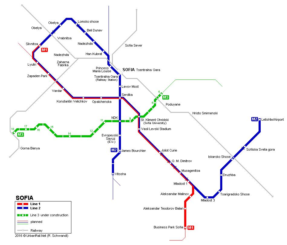 Sofia Subway Map.Sofia Metro Map Transports Urbains Et Ch De Fer Oeffentliche