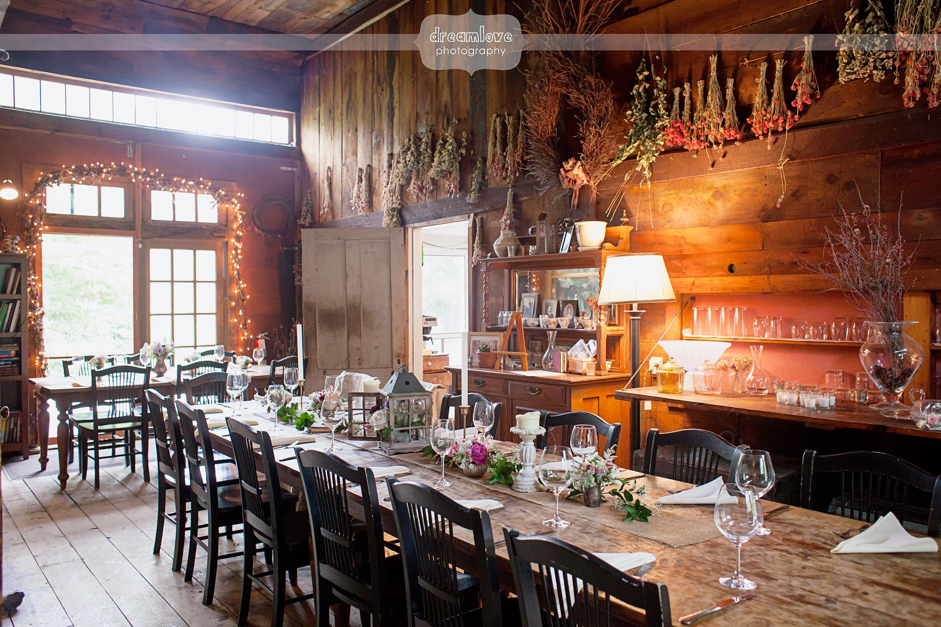 View Of The Inside Carriage House At Herb Lyceum Wedding Venue In Groton