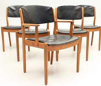 Børge Mogensen set of oak leather chairs and armchair fdb møbler design denmark mid century modern vintage